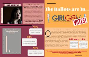 GirlGov alumni spread for Sarah Pesi