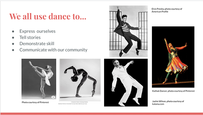 Slide: We all use dance to...