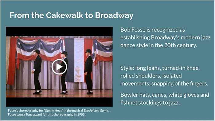 Slide: From the Cakewalk to Broadway